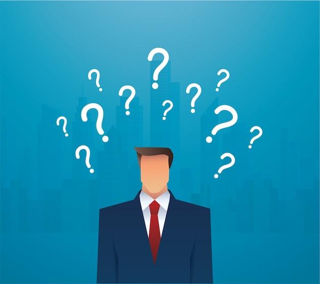 Ilustración de empresario y signos de interrogación