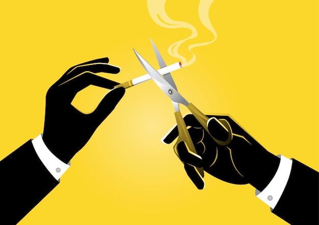 Una ilustración del empresario sosteniendo un par de tijeras en la mano corta un cigarrillo, concepto de no fumar