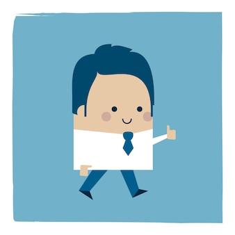 Ilustración de un empresario sosteniendo su pulgar hacia arriba