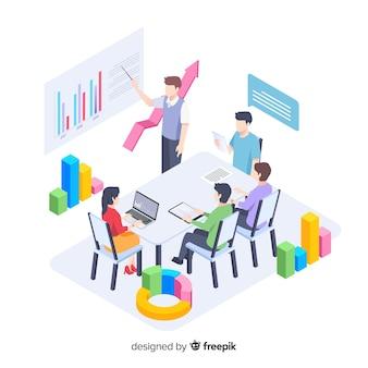 Ilustración con empresarios en una reunión