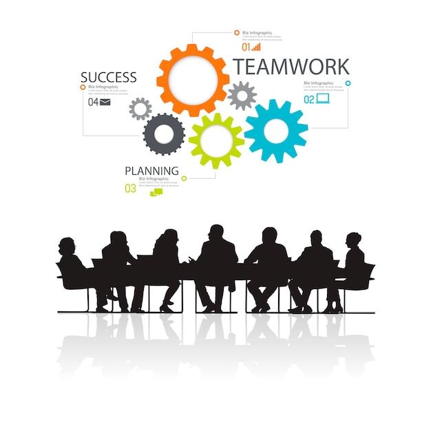 Ilustración de empresarios en la reunión