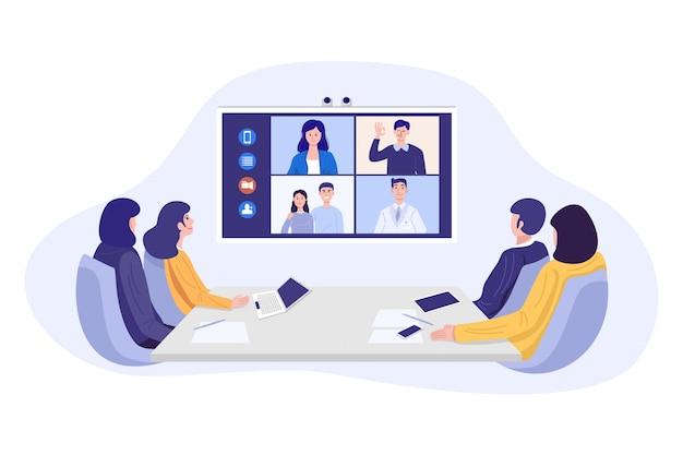 Ilustración de empresarios con videoconferencia.
