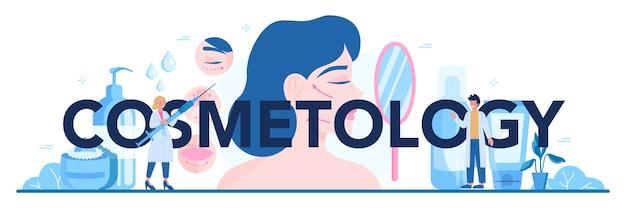 Ilustración de encabezado tipográfico de cosmetología en estilo de dibujos animados
