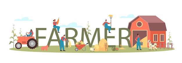 Ilustración de encabezado tipográfico de granjero