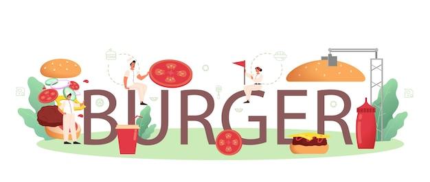 Ilustración de encabezado tipográfico de hamburguesa