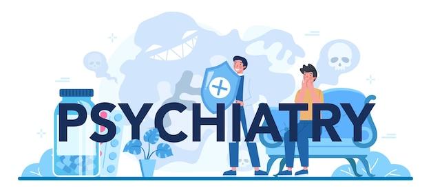 Ilustración de encabezado tipográfico de psiquiatría en estilo de dibujos animados