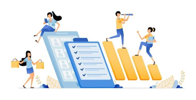 Ilustración de la encuesta y el examen de la empresa.