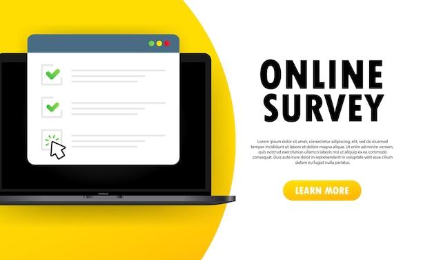 Ilustración de encuesta en línea o formulario en línea de lista de verificación en computadora portátil.