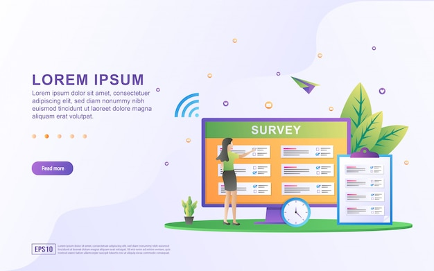 Ilustración de la encuesta en línea y preguntas con la lista de preguntas y los iconos de la computadora.