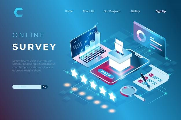 Ilustración de la encuesta en línea de satisfacción del cliente, votación electoral, investigación de desarrollo de productos en estilo isométrico con encabezado web y concepto de página de destino