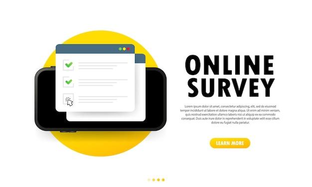 Ilustración de encuesta en línea. verifique el formulario en línea de la lista en el teléfono inteligente. informe en el sitio web o encuesta de internet web. ventana del navegador con marcas de verificación. vector sobre fondo blanco aislado. eps 10.