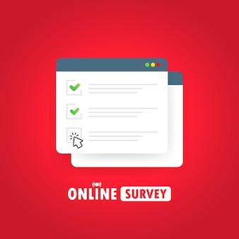 Ilustración de encuesta en línea Vector Premium