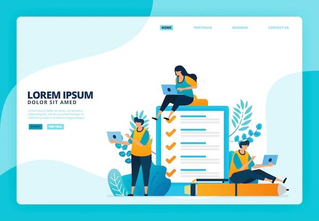 Ilustración de encuestas y exámenes. para el sitio web de la página de destino
