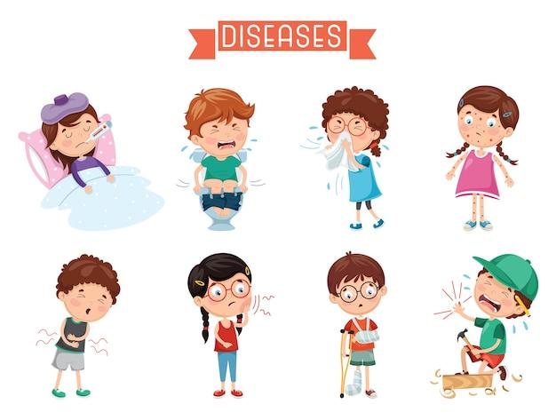 Ilustración de enfermedades infantiles