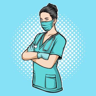 Ilustración de enfermera médica