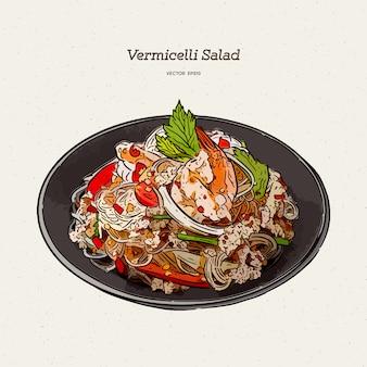 Ilustración de ensalada picante de fideos
