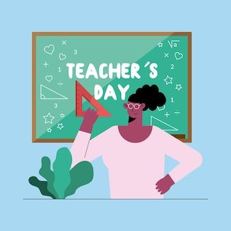 Ilustración de enseñanza de mujer afro