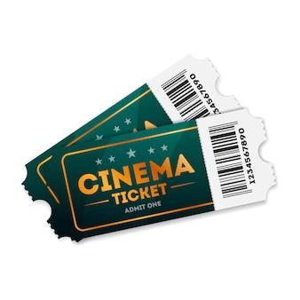 Ilustración de entradas de cine en blanco