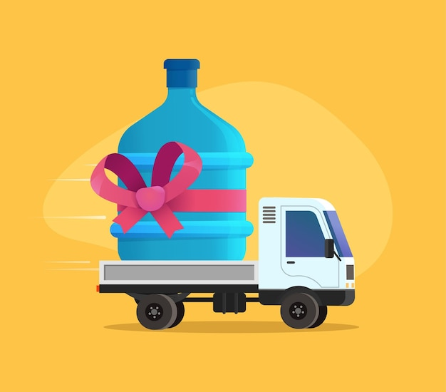 Ilustración de entrega de agua gratis. oferta especial de descuento entregar camión de dibujos animados de agua potable.