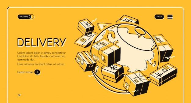 Ilustración de entrega de correo postal global en diseño de línea delgada isométrica