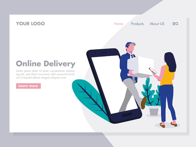 Ilustración de entrega en línea para la página de destino