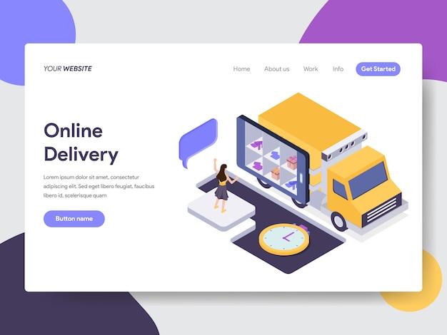 Ilustración de entrega en línea para páginas web