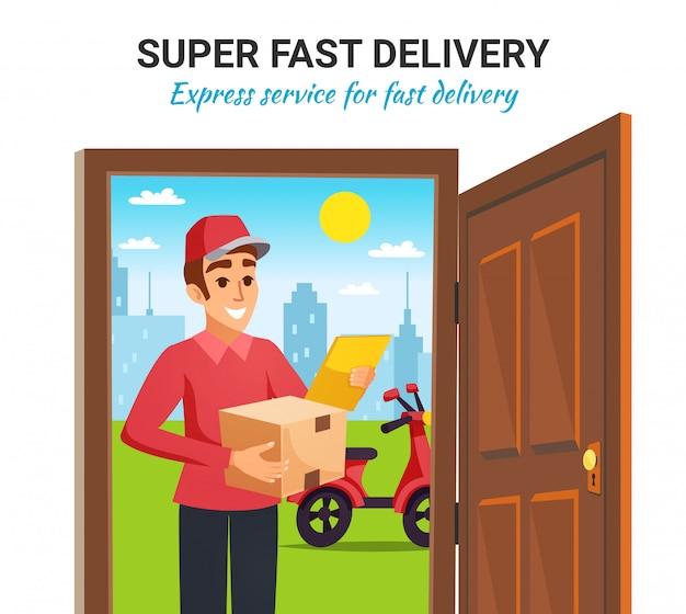 Ilustración de entrega de mensajería de motocicleta de paquete
