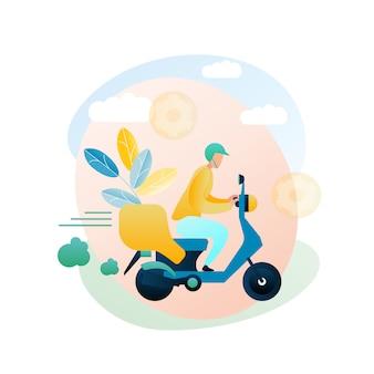 Ilustración entrega mercancía mensajero inicio cliente