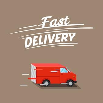 Ilustración de entrega rápida, con furgoneta roja isométrica.
