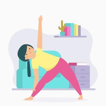 Ilustración de entrenamiento en casa