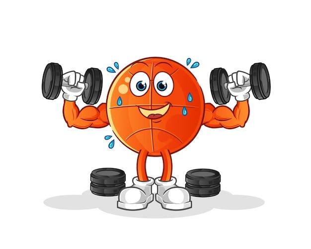 Ilustración de entrenamiento con pesas de baloncesto. personaje
