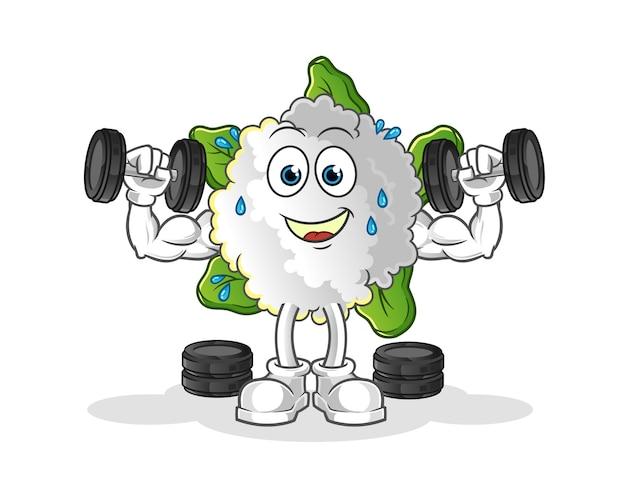 Ilustración de entrenamiento con pesas de coliflor