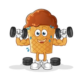 Ilustración de entrenamiento con pesas de helado de chocolate.