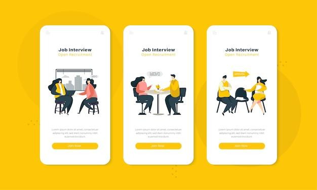 Ilustración de la entrevista de trabajo en el concepto de interfaz de pantalla a bordo