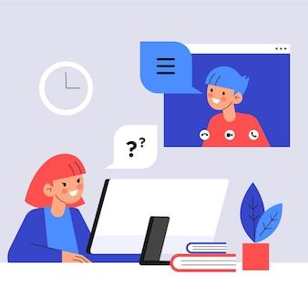 Ilustración de entrevista de trabajo en línea