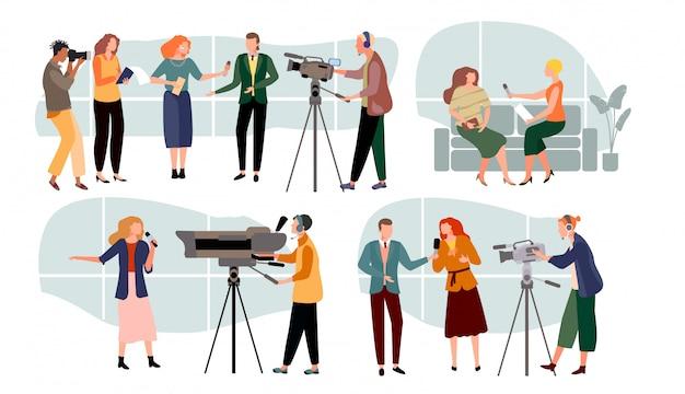Ilustración de entrevistas de periodista, personaje de presentadores de noticias de dibujos animados, personas con micrófono, medios de comunicación en blanco