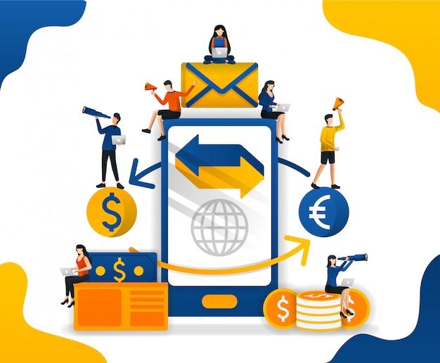 Ilustración de envío e intercambio de dinero con teléfono inteligente y tecnología de internet.