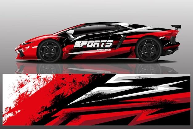 Ilustración de envoltura de calcomanía de coche deportivo