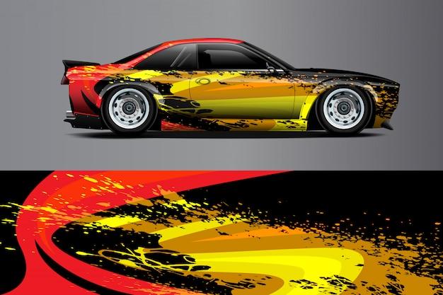 Ilustración de envoltura de calcomanía de coche