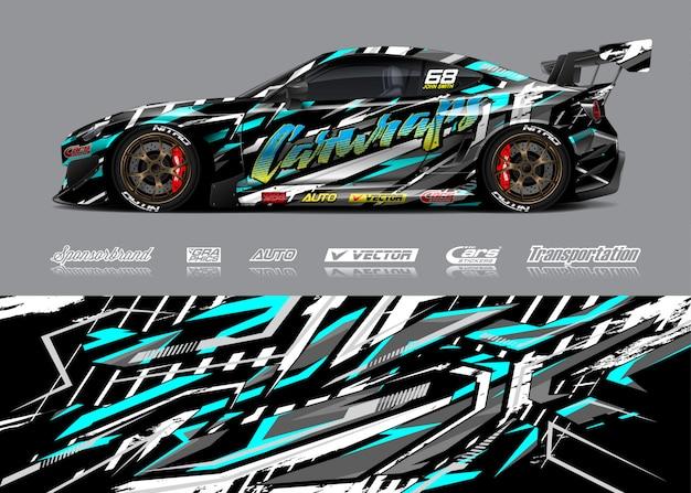 Ilustración de envoltura de coche de carreras