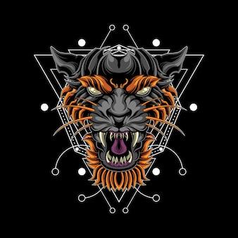 Ilustración épica de cabeza de tigre con geometría sagrada