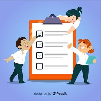 Ilustración equipo analizando lista de comprobación