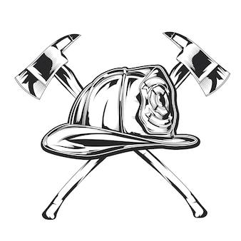 Ilustración de equipo de bombero - casco con dos ejes.
