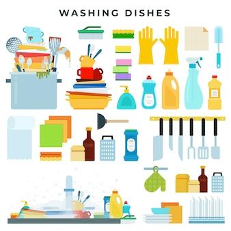 Ilustración de equipo de lavado de platos