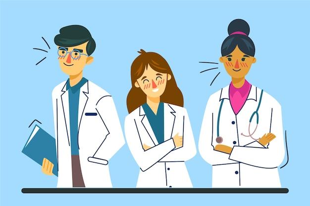 Ilustración del equipo profesional de salud