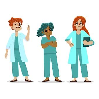 Ilustración del equipo de salud profesional sonriente