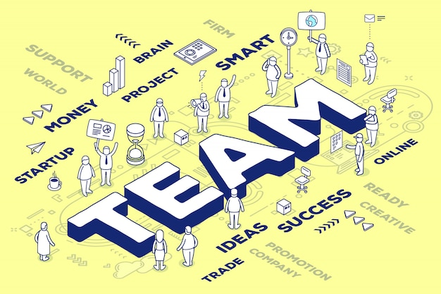 Ilustración del equipo tridimensional de la palabra con personas y etiquetas sobre fondo amarillo con esquema.