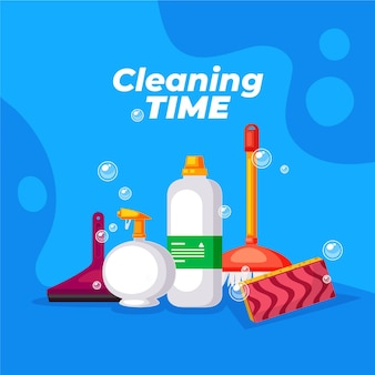 Ilustración de equipos de limpieza de superficies