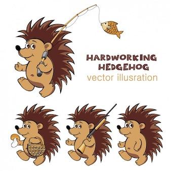 Ilustración de un erizo trabajador