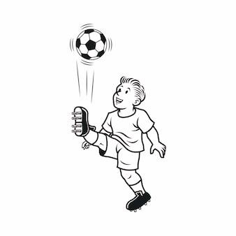 La ilustración es un personaje infantil pateando una pelota en blanco y negro
